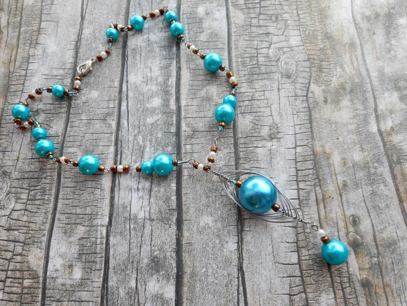 Turquoise beaded necklace handmade fashion jewelry ladies image 0