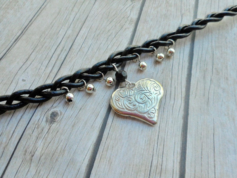 Hand Woven black leather choker necklace Heart charm pendant image 0
