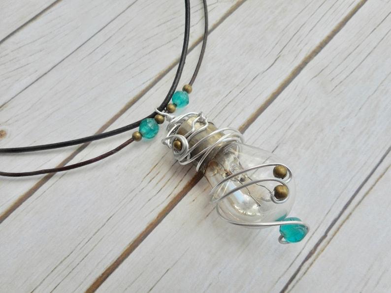 Light bulb pendant necklace handmade steampunk jewelery ladies image 0