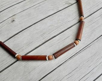 Wooden beaded necklace bamboo beads handmade tribal jewelry bohemian style jewelery unisex jewel unique boho fashion gifts him her