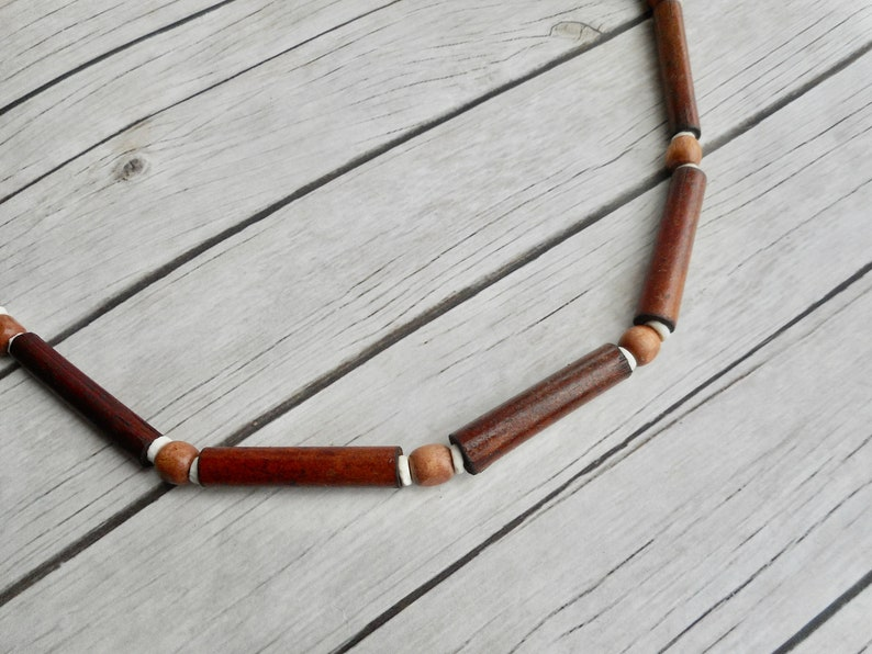 Wooden beaded necklace bamboo beads handmade tribal jewelry image 0
