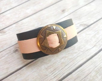 Leather bracelet women ladies jewelry handmade jewelery with concho natural black trendy item nude skin color cool cool unique gift