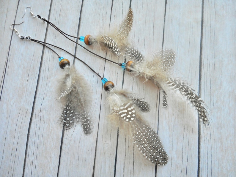 Leather earrings with real Guinea fowl bird feathers Boho image 0