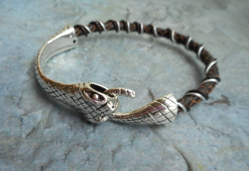 Bracelet leather mens ladies brown leather jewelry wire image 0