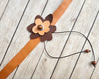 Real leather choker flower motif handmade jewelry for women fashion unique gift for her separate and alternative high quality leather gifts