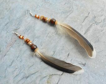 Natuurlijke eenden veren oorbellen handgemaakte bohemien sieraden dames sieraad Inheems geinspireerde vogelveren sieraad uniek cadeau