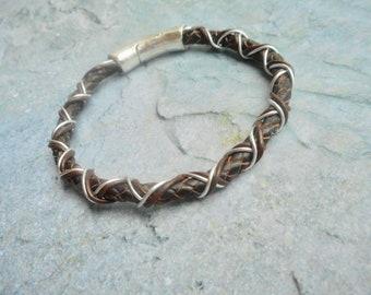 Bruin leren armband gevlochten heren dames handgemaakte Boho sieraad magneet sluiting handgemaakte Bohemien sieraden trending mode item