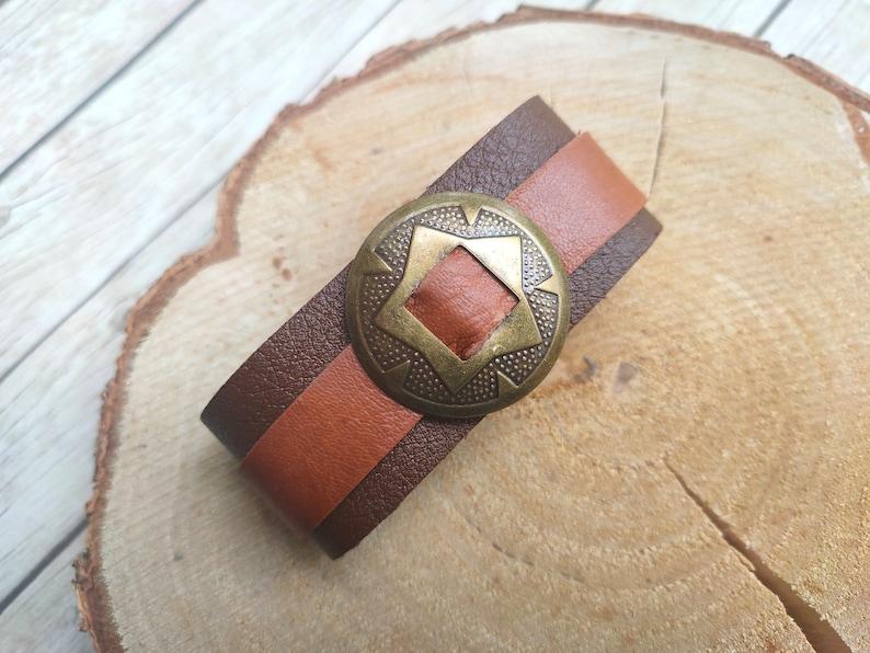 Leather bracelet cuff jewelry handmade jewelery with concho image 0