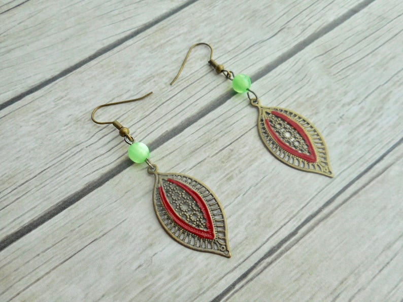 Leafs charm pendants earrings green glass beads antique bronze image 0