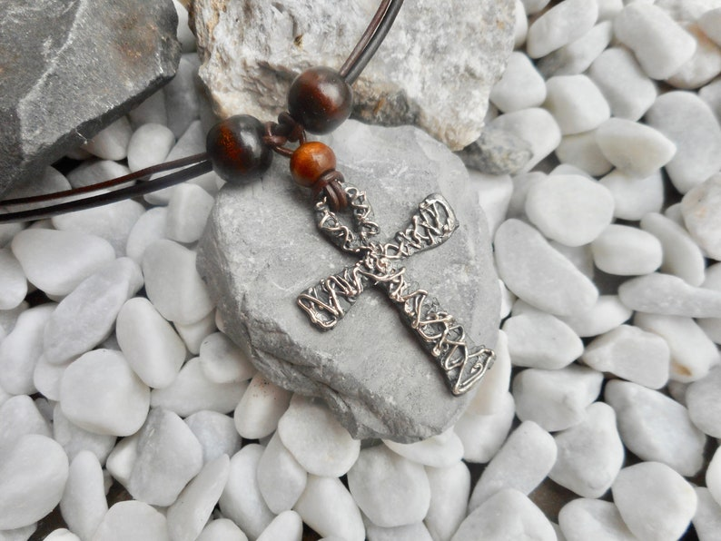 Sterling silver Ankh pendant necklace brown leather men's image 0