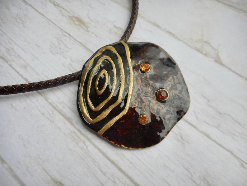 Golden brown boho style enamel pendant necklace handmade image 0
