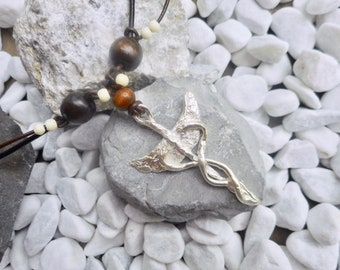 Sterling silver Caduceus pendant necklace brown leather men's ladies jewelery handmade unique jewelry one of a kind hand-forged fantasy