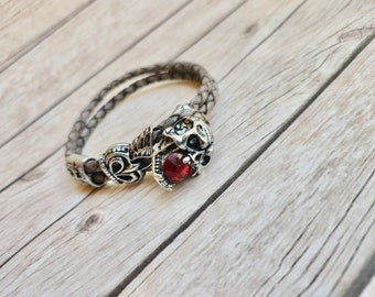 Leather bracelet men skull deadhead clasp buckle ruby crystal handmade jewelry unique sturdy jewelery mens jewelry trending item unique gift