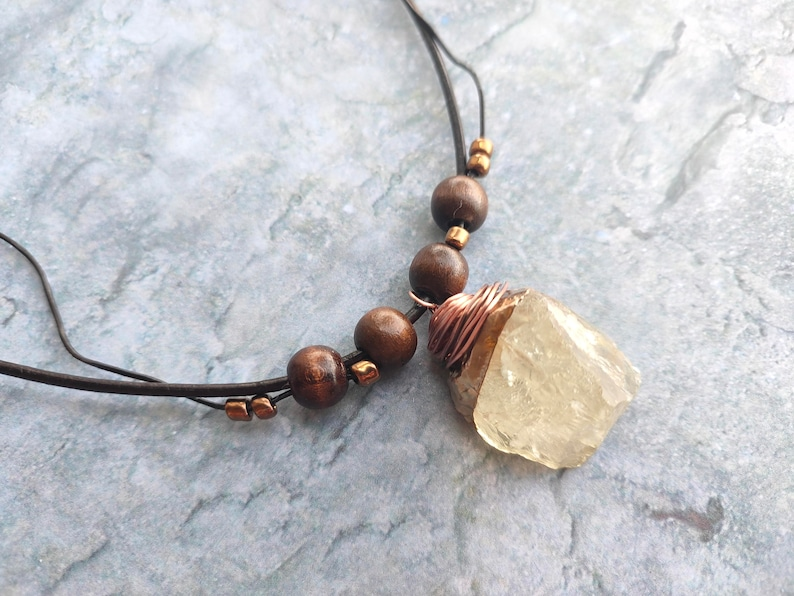 Raw citrine pendant brown leather necklace women fashion image 0