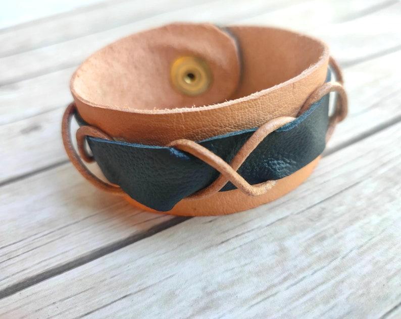 Leather bracelet mens women's fashion ladies men jewelry image 0