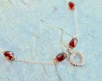 Sterling silver heart-shaped pendant necklace Zirconia and red garnet crystals stylish ladies jewelery handmade jewelry special fashion gift