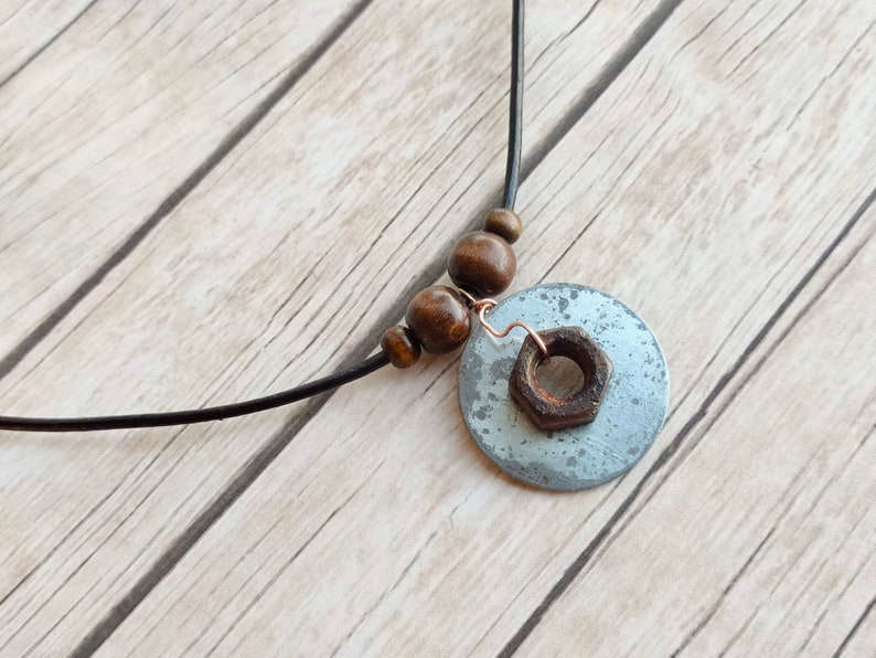 Rusted nut disc pendant leather necklace rustic ladies mens image 0