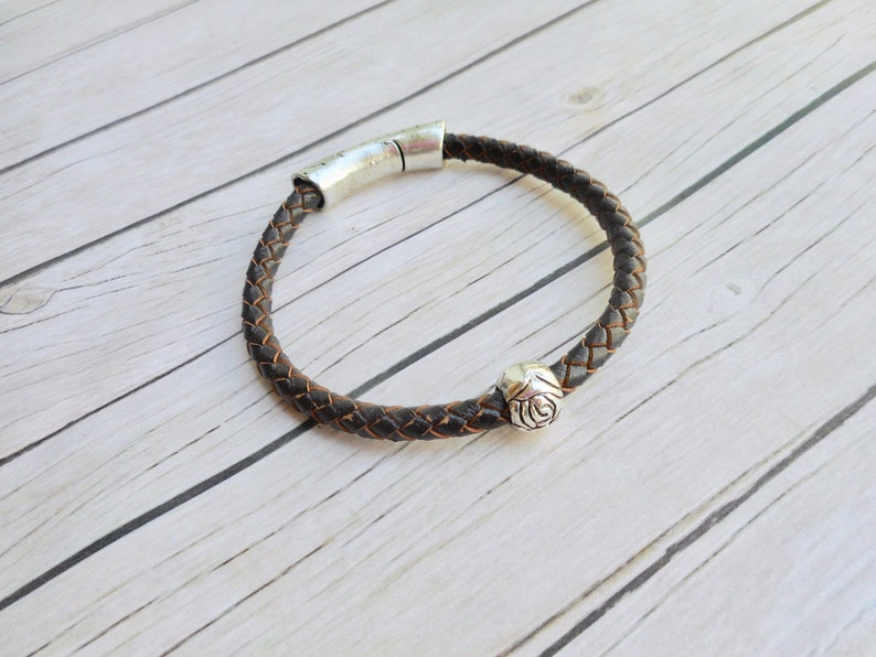 Brown braided leather bracelet ladies jewelry magnet clasp image 0