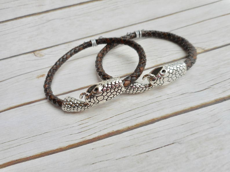 Set Mother daughter father son bracelets brown leather jewelry image 0