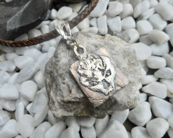 Antique sterling silver skull pendant necklace brown leather men's ladies jewelery handmade unique jewelry one of a kind hand-forged fantasy