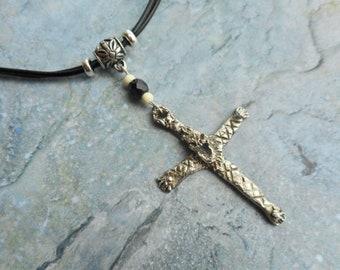 Echt zilveren kruis hanger choker halsketting schedel gothic sieraden heren dames leren sieraad handgemaakt handgesmeed antiek zilver 925