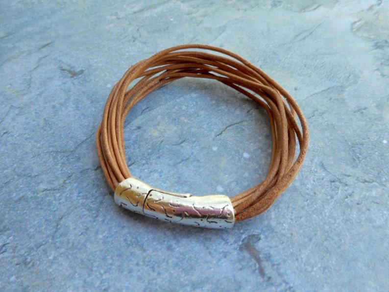 Leather bracelet mens ladies straps jewelry Tough brown image 0