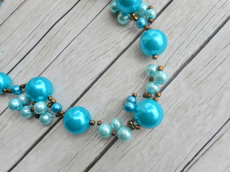 Blue beaded necklace handmade jewelry ladies fashion jewelery image 0