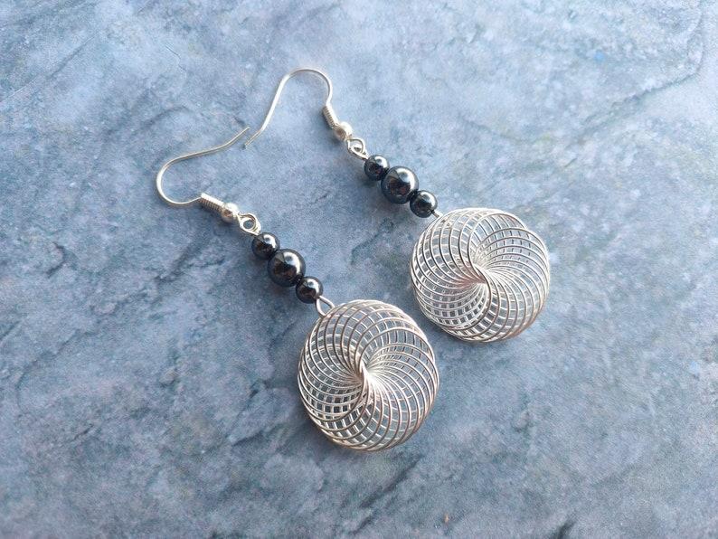 Hematite spiral earrings handmade jewelry for women silver image 0