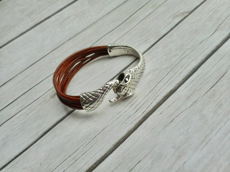 Leather bracelet straps mens ladies brown jewelry Ouroboros image 0