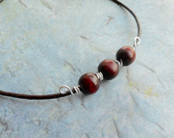 Brown leather necklace wooden beads / ladies mens Bohemian jewelery / handmade jewelry / burgundy cherry red wooden beads / trending item