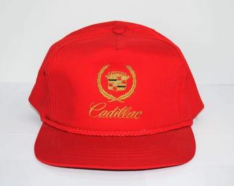 cc49f29962b 90 s Cadillac Vintage West Coast Gangsta Rap Era Classic Hip Hop Style Pop  Culture Luxury Car Logo Crest Red Automobile Promo Snapback Hat