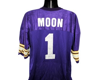 1994 Warren Moon Vintage Minnesota Vikings  1 Purple + Gold + White  Champion Brand Classic 90 s NFL Football Team Player Promo Jersey 38d848d45