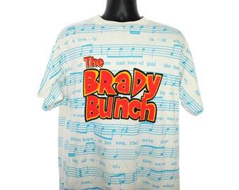 e37104fd5 1992 The BRADY BUNCH Vintage Nick at Nite Era Iconic Theme Song Lyrics All  Over Print Classic Pop Culture TV Show Promo T-Shirt