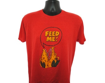 ce0070c3da10 1986 Little Shop of Horrors Vintage FEED ME! Audrey II Classic 80 s Rick  Moranis + Steve Martin Comedy Musical Horror Movie Promo T-Shirt