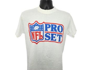 1989 NFL Pro Set Vintage Barry Sanders + Troy Aikman + Deion Sanders Era  Classic 80 s + 90 s Football Trading Card Company Promo T-Shirt 7d91f088f