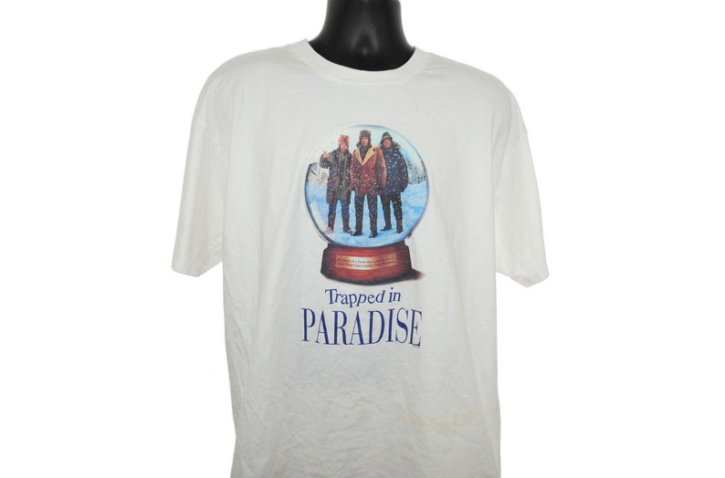 1994 Trapped In Paradise Vintage Nicolas Cage + Jon Lovitz + Dana Carvey  Classic 90's Pop Culture Christmas Crime Comedy Movie Promo T-Shirt