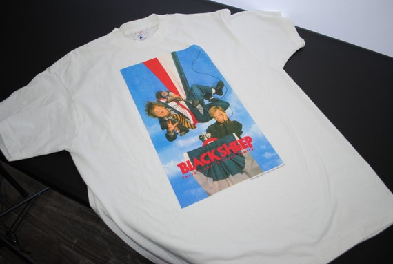 1996 mouton noir Vintage Chris Farley + David Spade Classic Boy Tommy Boy Classic suivi 90 s Pop Culture Buddy Comedy Film Promo T-Shirt dc64d3