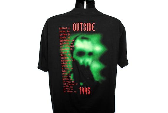 1995 David Bowie les Vintage les Bowie coeurs Sales leçon emblématique Se7en fermeture titres chanson Promo 90 s classique ère industrielle de Pop Concert Tour T-Shirt 3fbc78