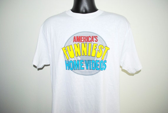 Vintage 90s Americas Funniest Home Videos ABC t shirt Size L Tom Bergeron Reality Blooper TV h5d2rO1ja