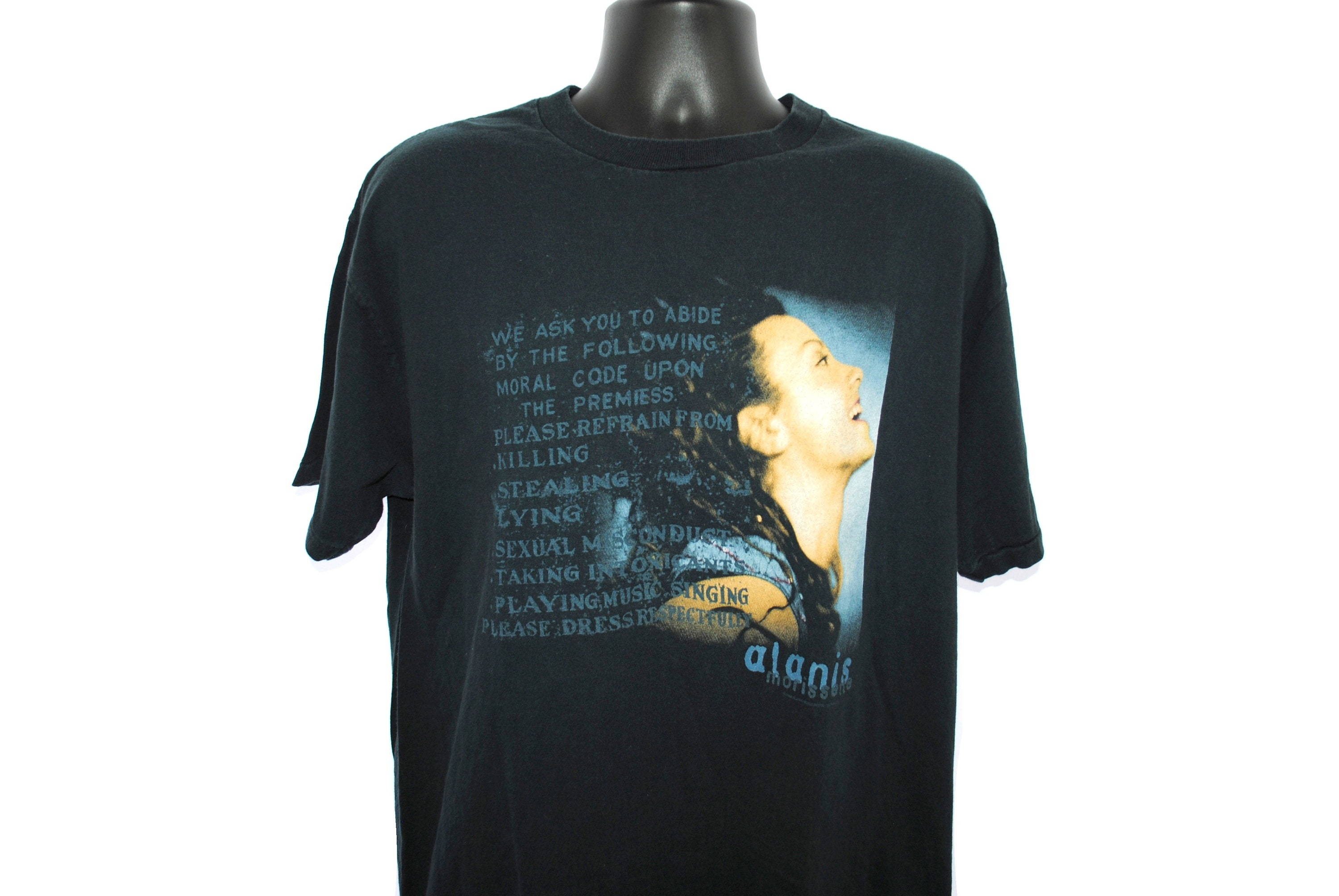 ad19c366cc 1998 Alanis Morissette Vintage Thank U Era Supposed Former Infatuation  Junkie Album Promo Classic Jagged Little Pill Follow Up Tour T-Shirt