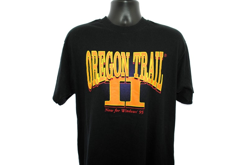 1995 Oregon Trail II Vintage Now For Windows 95 Classic 90s Pop Culture  Elementary School Computer Lab PC Video Game Promo T-Shirt