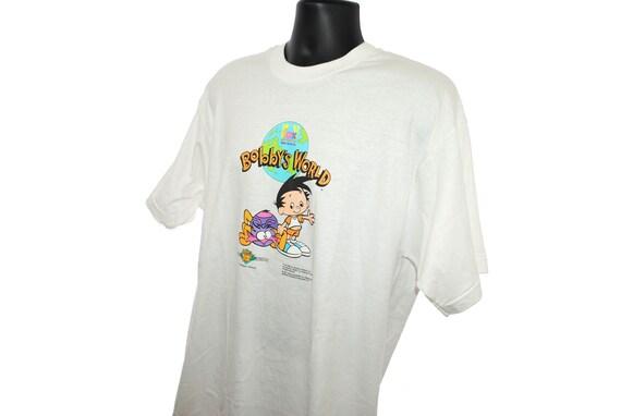 1995 monde Vintage samedi matin Kids dessins animés ère Fox Kids matin Network 90 ' s Pop Culture de Bobby animation TV Show Limited Edition Promo T-Shirt 33839b