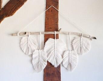 Handmade Macrame Feather, Leaf Wall Hanging. Boho Wall Decor. 5x Feathers