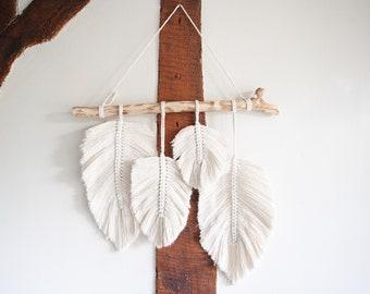 Handmade Macrame Feather, Leaf Wall Hanging. Boho Wall Decor. 4x Feathers