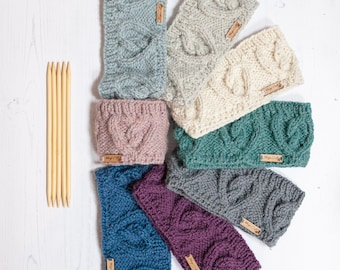 Alpaca cable headband, chunky hand knitted ear warmer in various colours