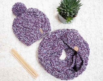 Thick Chunky Bobble Hat & Scarf Set. Hand Knitted Pom Pom Hat and Infinity Scarf. Perfect winter accessory!