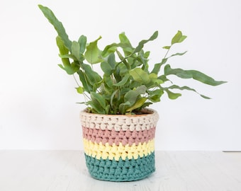 Medium plant pot cover - multicoloured. Made from recycled cotton. Perfect present for a plant lover!