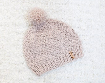 Beige Pom Pom Hat. Women's Handmade Bobble Hat. Thick chunky beanie hat hand knitted. Easy care acrylic yarn.