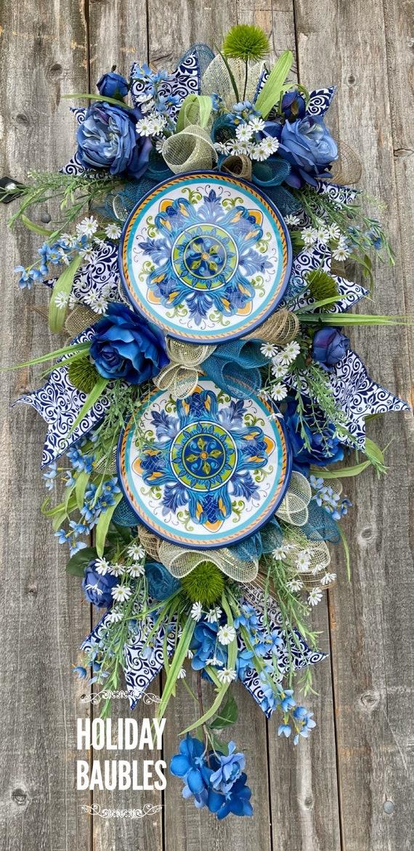 Spring Wreath, Spring Teardrop Swag, Melamine Plate Wreath, Everyday Wreath, Everyday Decor, Spring Decor, Melamine Decor