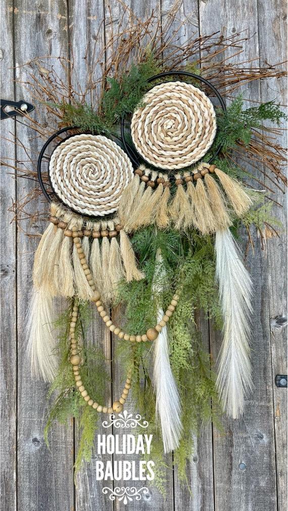 Wall Basket Wreath, Boho Wreath, Boho Wall Basket Wreath, Wall Basket Decor, Natural Boho Basket Wall Decor, Wall Decor, Boho Decor, Boho